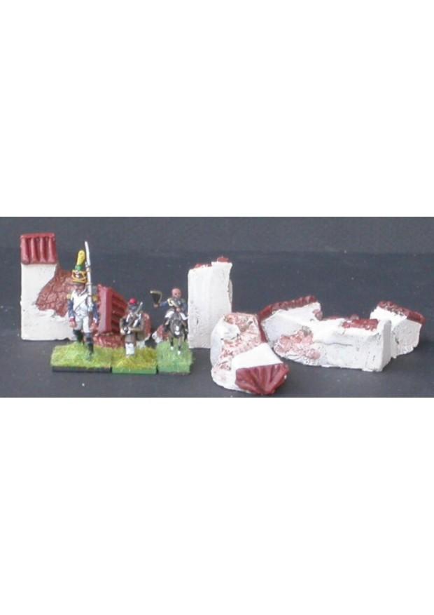 MUR9 2 poteaux 2 sections de grands murs tuilés ruinés
